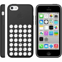 Original Genuine Apple iPhone 5C Silicone Dot Case Cover - Black MF040ZM/A