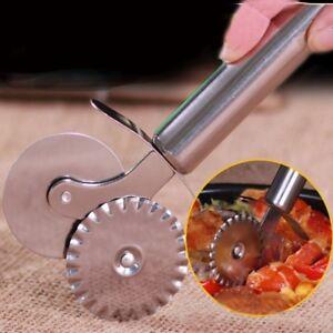 Pastry Pasta Crimper Cutter Dough Pizza Ravioli Dual wheel Tools Wavy Edge Blade