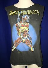 vintage 1987 Iron Maiden Somewhere In Time TOUR CONCERT TSHIRT SLEEVES CUT LARGE