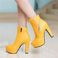 Retro Ladies Block High Heels Military Combat Ankle Boots Zipper Platform Shoes