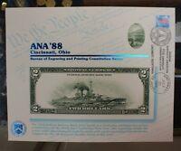 BEP souvenir card B 116 ANA 1988 back 1918 $2 FRBN Show cancelled