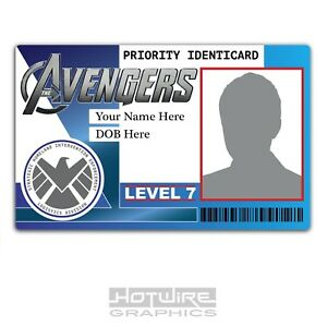 PERSONALISED Printed Novelty ID- MARVEL AVENGERS Security Card Pass FILM & TV