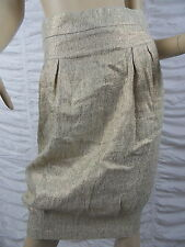 EROTOKRITOS gold beige Paris designer linen blend pencil skirt size 1 BNWT