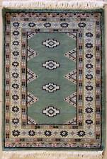 Rugstc 2x3 Bokhara Jaldar Green Area Rug, Hand-Knotted,Geometric with Wool Pile