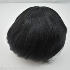 stock jet black toupee for men mens full lace human hairpiece system bleached