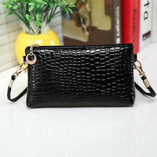 Womens Crocodile Leather Messenger Crossbody Clutch Shoulder Handbag Evening Bag