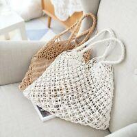 Lady Woven Bags Handbag Net Straw Rattan Wicker Tote Boho Beach Hollow Out Chic