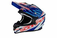 Cross ENDURO casco MOTO integrale Scorpion VX-15 EVO Air GAMMA blu BIANCO ->L