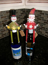2 Christmas Santa & Snowman Wine Bottle Toppers Stoppers Great Stocking Stuffer