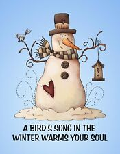 METAL REFRIGERATOR MAGNET Bird's Song In Winter Warms Soul Bird Snowman Saying