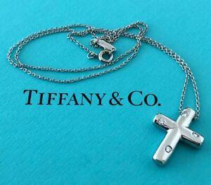 Tiffany & Co. Vintage Solid Platinum and Diamond Etoile Cross Necklace Pendant