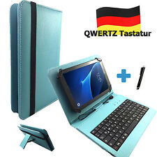 Deutsche Tastatur Hülle Blackberry Playbook 7 zoll Tablet Tasche Qwertz Türkis