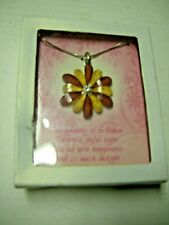 "Flower Necklace, Orange & Maroon By DM Merchandising, 15"", Brand New In Gift Box"