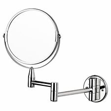 Two-Sided Magnifying Wall Mounted Swivel Make up Shaving Mirror Extendable