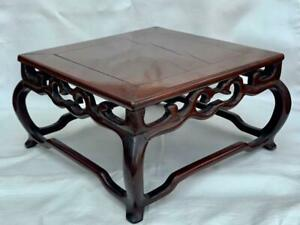 Superb Antique Chinese Hand Carved Padouk Wood Vase Stand.