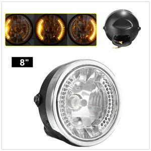 "Amber Motorcycle Replace Headlamp LED Turn Signal Light 8"" Turn Lamp Headlight"