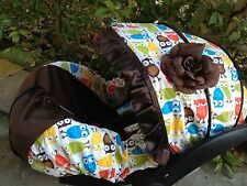 baby Owl infant car seat cover canopy cover slip covers  fit most seat  boy girl