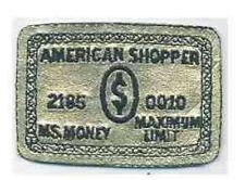 Shiny Gold American Shopper Credit Card Parody Embroidery Patch