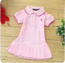 Kids' Girls tennis skirt Short-sleeved T-shirt dress 8 Color 1-5Y