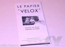 Ancien document le Papier VELOX de KODAK