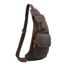 Men Vintage Real Leather Sling Bag Shoulder Cross Body Bicycle Work Chest Bag