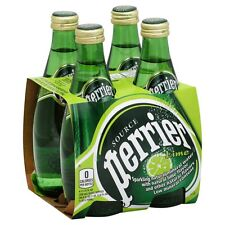 Perrier Sparkling Water, Lime - 4 pack, 11.15 fl oz Glass Bottles