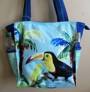 Tropical Toucan Handbag Purse Shopper Style Tote Bag Zip Top NWT