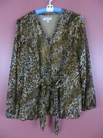 TB05202- COLDWATER CREEK Womens Polyester V-Neck Blouse w/ Tie Animal Print XL