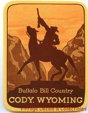 VINTAGE BUFFALO BILL COUNTRY CODY WYOMING COWBOY SOUVENIR TRAVEL DECAL LABEL ART