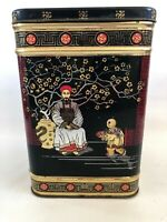 Oriental Tea Tin Canister Made in England Vintage