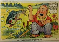 C.T. Fish Comics Fisherman Throw Back Shore Curteich Mint Postcard Posted 1948