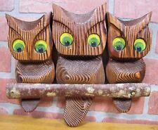 Vintage Retro Witco Tiki Owls three birds perched on a branch Groovy Big Eyes