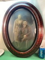 Vtg 1930's Tiger Stripe Oval Frame Sepia Young Couple Portrait Convex Glass