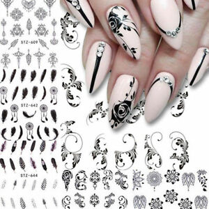 6 Sheets Nail Water Decals Flower Feather Geometry Nail Art Tranfer Stickers FGS