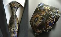Brown Tie Blue Yellow Paisley Handmade Patterned 100% Silk Wedding Mens Necktie
