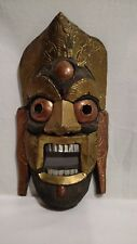 Vintage Wall Hanging Mask of Wood with Metal Face Design, No Markings,Hand Made