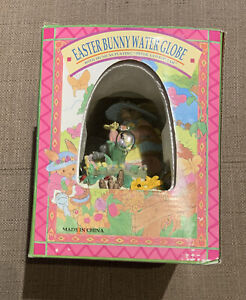 Easter Bunny Rabbit Musical Egg Shaped Water Globe Spring Peter Cottontail