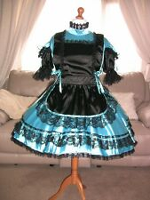 Amazing Blue Satin Adult Sissy Maids Dress with Black Apron size xxl