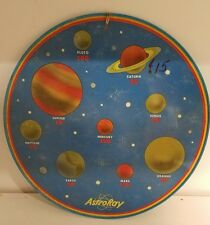 """ASTRORAY & FRIENDSHIP 7 GAME BOARD MORSE CODE AND SOLAR SYSTEM  12 3/4"""" ROUND BL"""