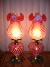 FENTON ART GLASS / L.G. WRIGHT COIN DOT  Honeycomb POPPY Lamp,GWTW (1-2)