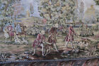 LG Hunting horse dogs SCENE FRANCE ITALY Tapestry Victorian unmarked vintage