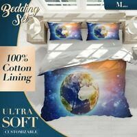 Planet Earth Sunset Nature Space Blue Doona Cover Set with Zipper And Pillowcase