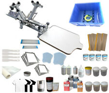 4 Color 1 Station Screen Printing Kit with 4 Color Print Materials Press Printer