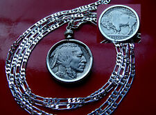 "Antique About Uncirculated BUFFALO NICKEL Pendant 28 "" 925 Sterling Silver Chain"