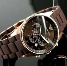 NEW GENUINE EMPORIO ARMANI AR5890 ROSE GOLD SILICONE MENS WATCH RRP £350