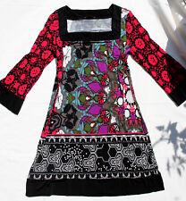 Comma kleid rot schwarz 38 40 langarm hippie folklore long shirt tunika folklore