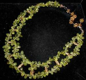 Gem Quality PERIDOT BRIOLETTE Necklace with Faceted Citrine*16.5 Inch*CHRYSOLITE