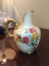 ANTIQUE Royal Worcester BLUSH IVORY Flat Back PITCHER JUG Floral ROSES Gold GILT