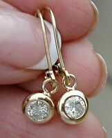 1.00 Ct Round Cut Diamond Dangle Drop Earrings Solid 14K Yellow Gold Over
