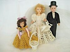 1950s Bride & Groom Dolls~flower girl~hard plastic~crocheted clothes~stands